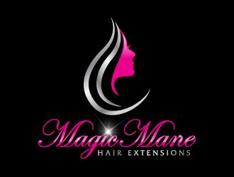 magic mane hair extensions logo design