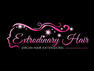 extrodinary hair virgin hair extensions logo design