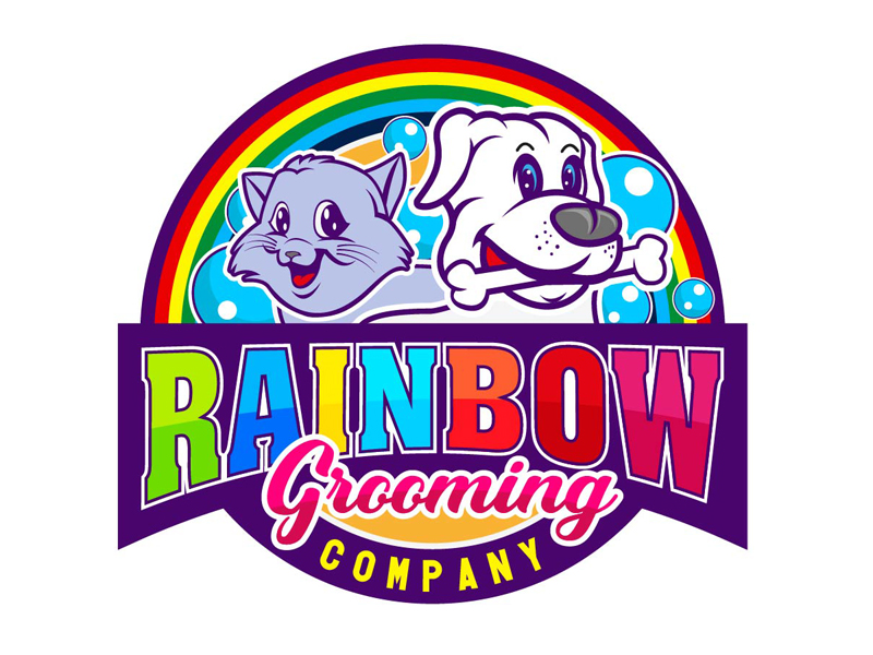 The Rainbow Grooming Company logo design by DreamLogoDesign