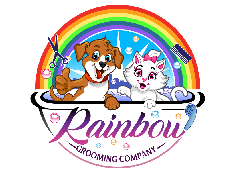 The Rainbow Grooming Company logo design by Suvendu