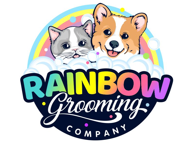 The Rainbow Grooming Company logo design by veron