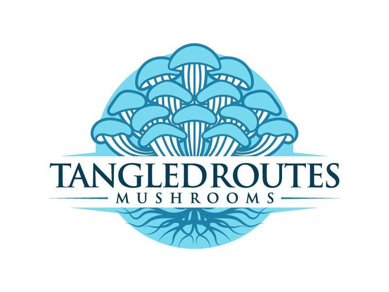 Tangled Routes Mushrooms logo design by iamjason