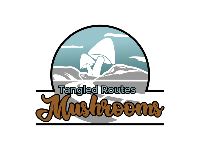 Tangled Routes Mushrooms logo design by onetm